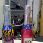 Bubbly on desk :)