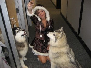 Eskimo and her sled dogs